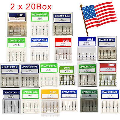 Usa 200pc40 Box Dental Diamond Burs For High Speed Handpiece Medium Fg 1.6mm