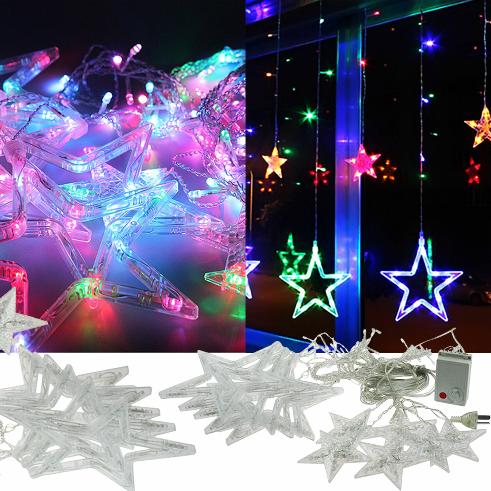 138LED Star Stern Lichterkette Lichtvorhang Fenster Weihnachten Beleuchtung Deko