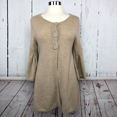 FOR JOSEPH Womens Sweater Coat Size M 100% CASHMERE Cardigan Tan Beige