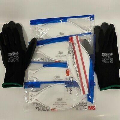 5x 3M Aura 9330+ FFP3 Atemschutzmaske ohne Ventil + 1 Paar PSA Handschuhe Gr. XL