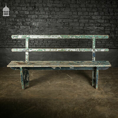 Early 20th C Teak Bench with Distressed Flaking Paint