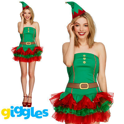 Elf Costume & Tutu Womens Ladies Santas Helper Christmas Xmas Fancy Dress Outfit