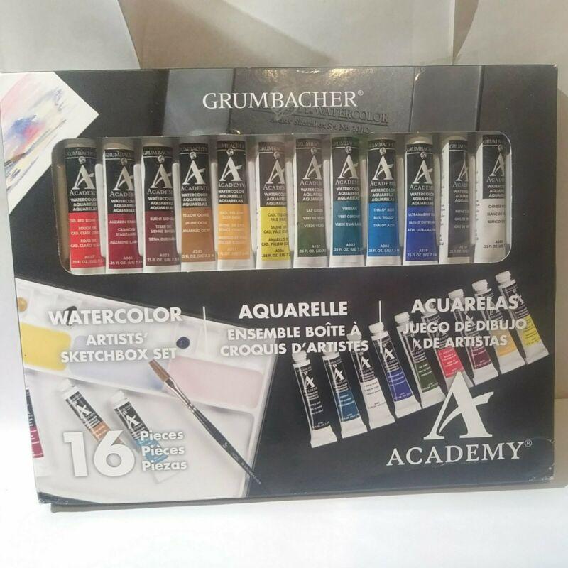 NEW Grumbacher 16 Piece Artists Watercolor Set, Portable (upc5003)