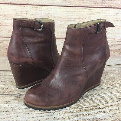 Biala Plum Purple Leather Wedge Ankle Booties Sz 38 8 US Anthropologie