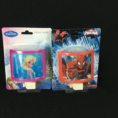 Spiderman and Disney FROZEN Elsa Anna Night Light Lot of 2 Boy Girl bedroom Hall