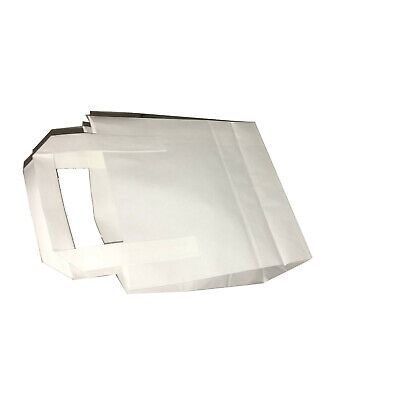 100 Pack White Small SOS Kraft Takeaway Paper Carrier Bags 7x8.6x3