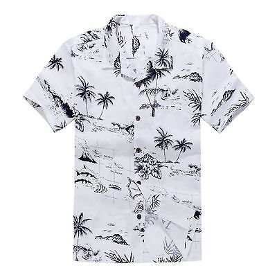 Men Hawaiian Shirt Cruise Tropical Luau Beach Aloha Party White Map Palm Island (Hawaiian Shirt Party)