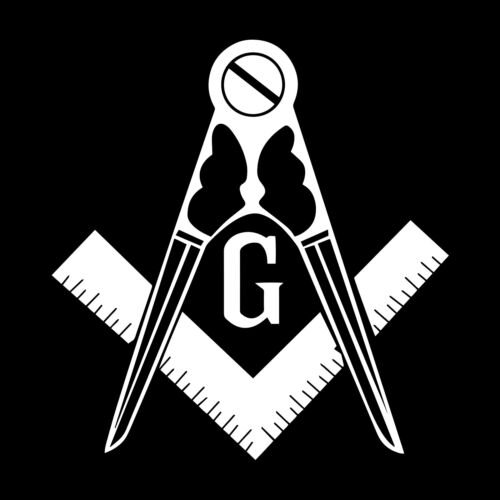 Traditional Variation Square & Compass Masonic Vinyl Decal - White 6 Inch