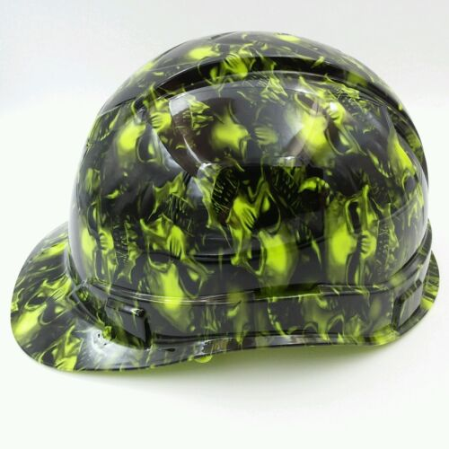 Hard Hat custom hydro dipped , OSHA approved TERMINATOR SKULLS LIME GREEN 1