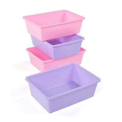 Tot Tutors XL081 Large Plastic Storage Container Bins, Pink/Purple (Set of 4) (Purple Storage Bins)