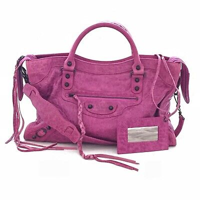 Used, Auth BALENCIAGA Motorcycle City Bag Magenta Pink Agneau Lambskin S/S 2008 EUC for sale  Shipping to United States