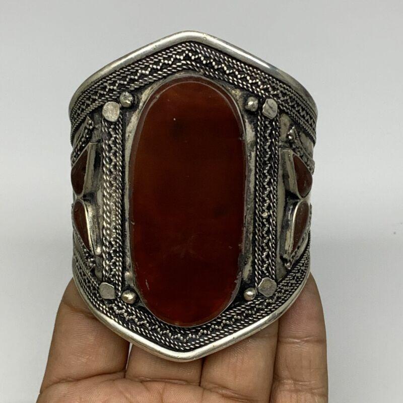 """57.9g, 3.2"""" Red Carnelian Turkmen Cuff Bracelet Tribal Oval Shape, B13807"""