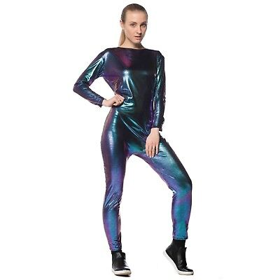 Adult Womens Iridescent Dragon Alien Fish Rave Halloween Costume Blue Jumpsuit