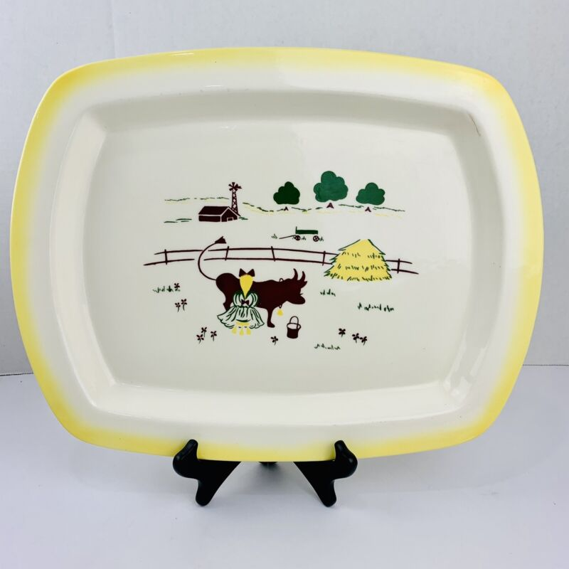 "Brock Of California Farmhouse Pattern 17"" Rectangular Serving Platter RARE LARGE"