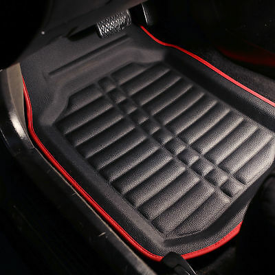 PU Leather Floor Mats for Auto Car SUV Van Deep Tray Waterproof Black Red