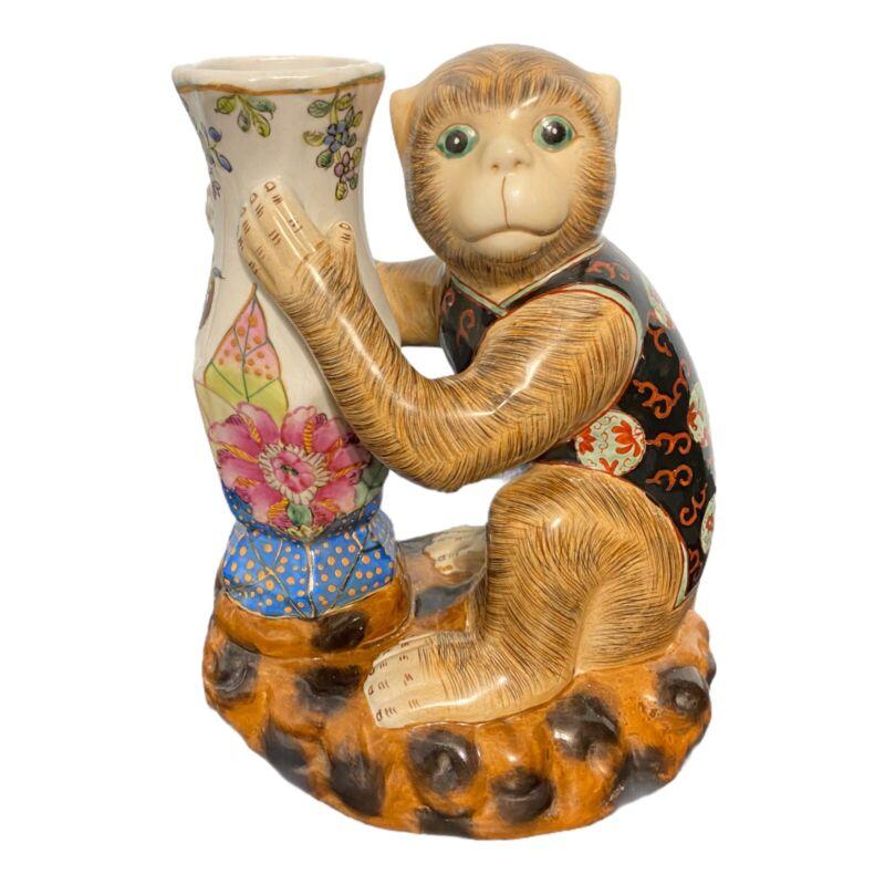 Vintage Chinese Hand Painted, Enameled Porcelain Monkey Candle Holder With Vase