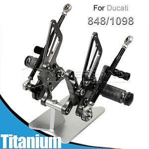 Adjustable Rearset Rear Set Footrest Ducati 848 1098 1098S/R 1198 Titanium TOLL