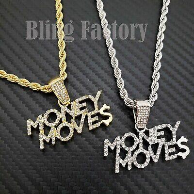 - Hip Hop Iced Money Moves Charm Pendant & 4mm 24