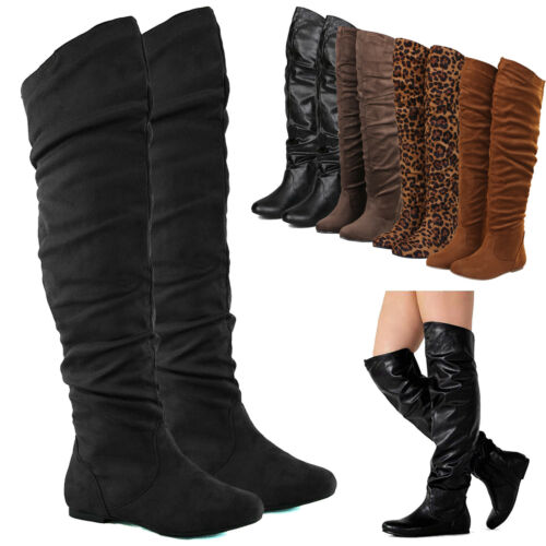 Women's Over The Knee Slouchy Flat Boots Faux Leather & Sued