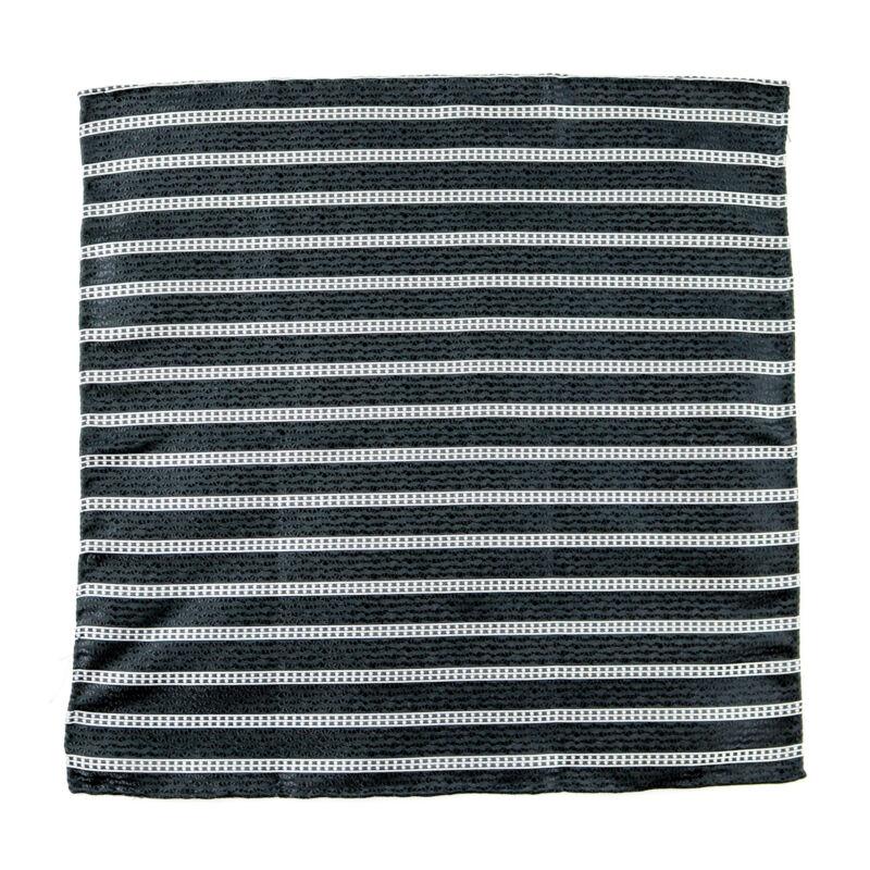 SANTOSTEFANO Handmade Striped Woven Black Silk Pocket Square Handkerchief $150