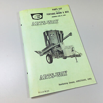 Arts Way 320 420 Portable Mixer Mill Parts List Catalog Manual