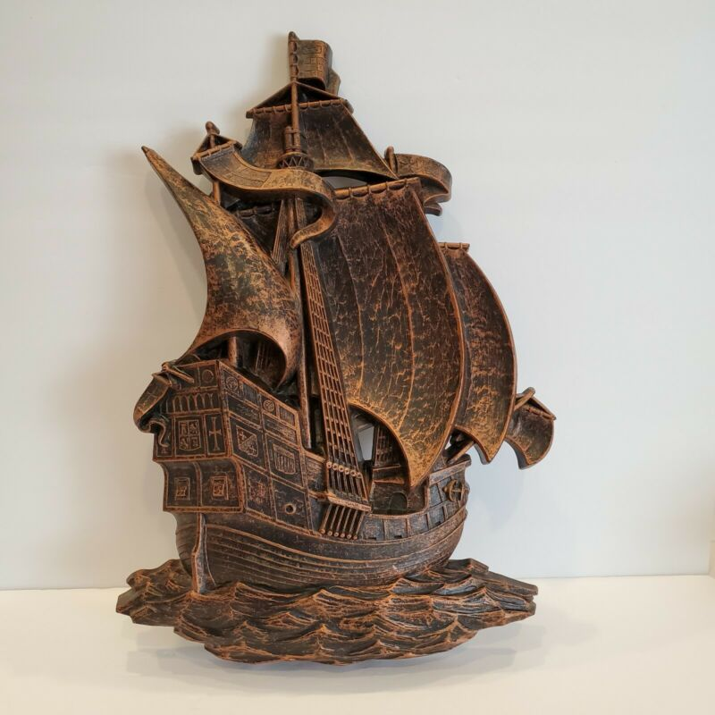 Vintage Syroco Plastic Wall hanging Spanish Galleon Ship Wall Decor