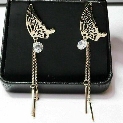 Round CZ Dangle Butterfly Wings Earrings Women Jewelry 14K Rose Gold Plated