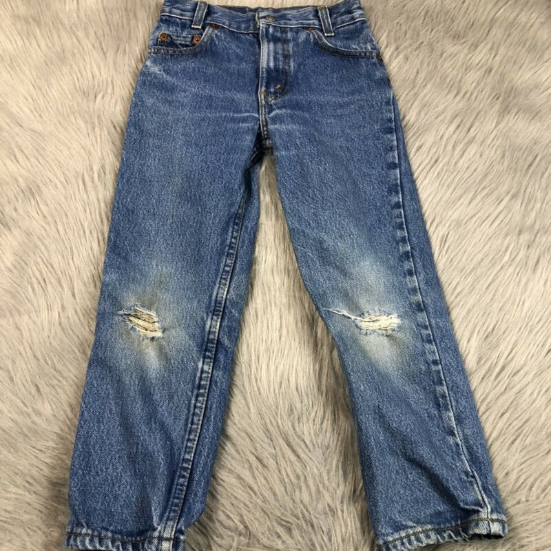 Vintage Boys Blue Denim Levis Made In Usa Worn Torn Knee Holes
