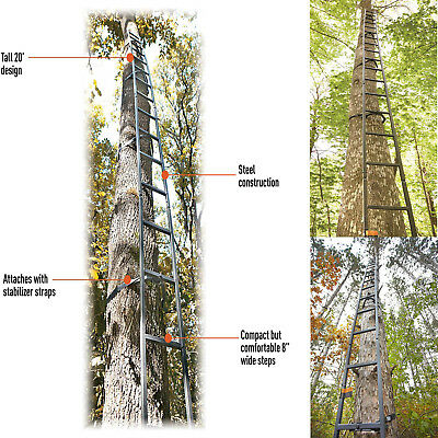 20' Tree Stand Long Ladder Steel Deer Turkey Hunter Shooting Portable Climbing ()