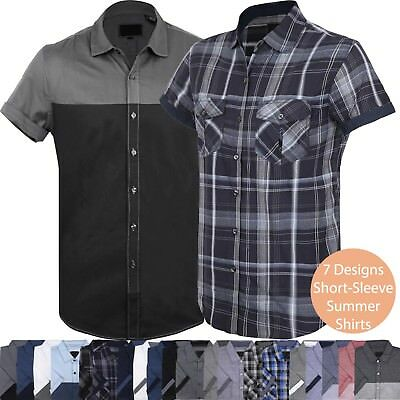 Mens BUTTON DOWN SHORT SLEEVE Tee Summer Casual Top Collared Western T