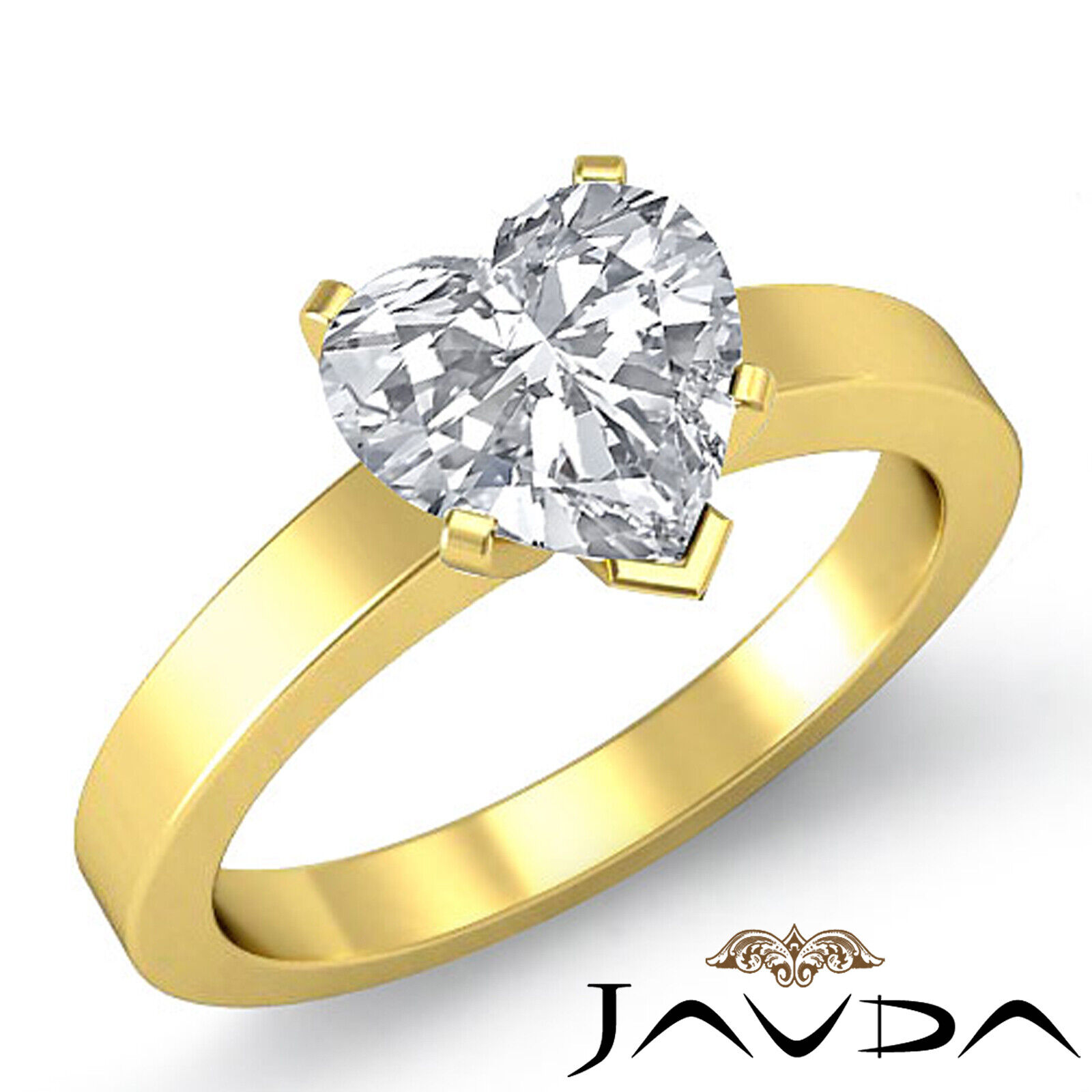 4 Prong Solitaire Heart Diamond Engagement GIA H  VS2 Gold Flat 3mm Ring 1.2 ct. 1