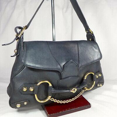 Authentic Rare Vintage Gucci Horsebit Black Leather Small Shoulder Hobo Handbag