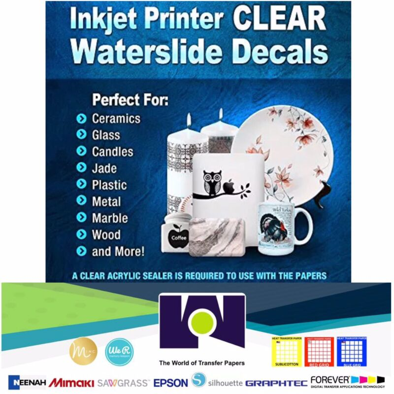 Waterslide Decal Paper Inkjet CLEAR 5Sh 8.5x11 Water Slide Decal Transfer Paper