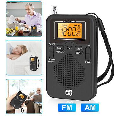 Mini Portable Pocket Digital LCD AM FM Radio Battery Powered Receiver Speaker
