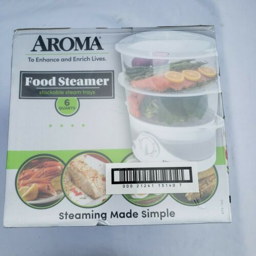 Aroma 6 Quart Food Steamer - White - New in Box