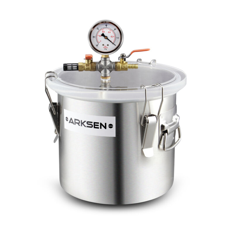 2 Gallon Stainless Vacuum Chamber Degass Urethanes Silicone Epoxies Rubber 200mm