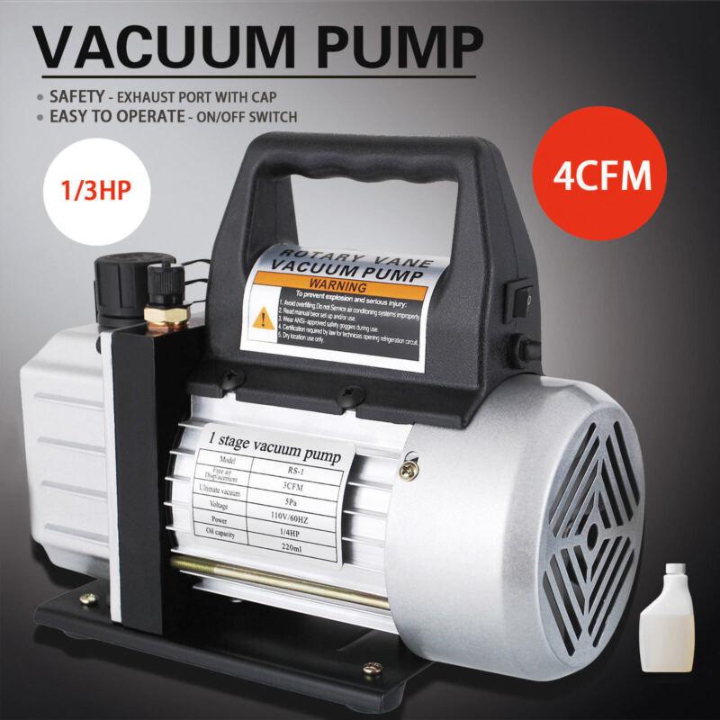1/3HP 4 CFM Deep Vacuum Pump Black 110V HVAC AC Refrigerant Charge