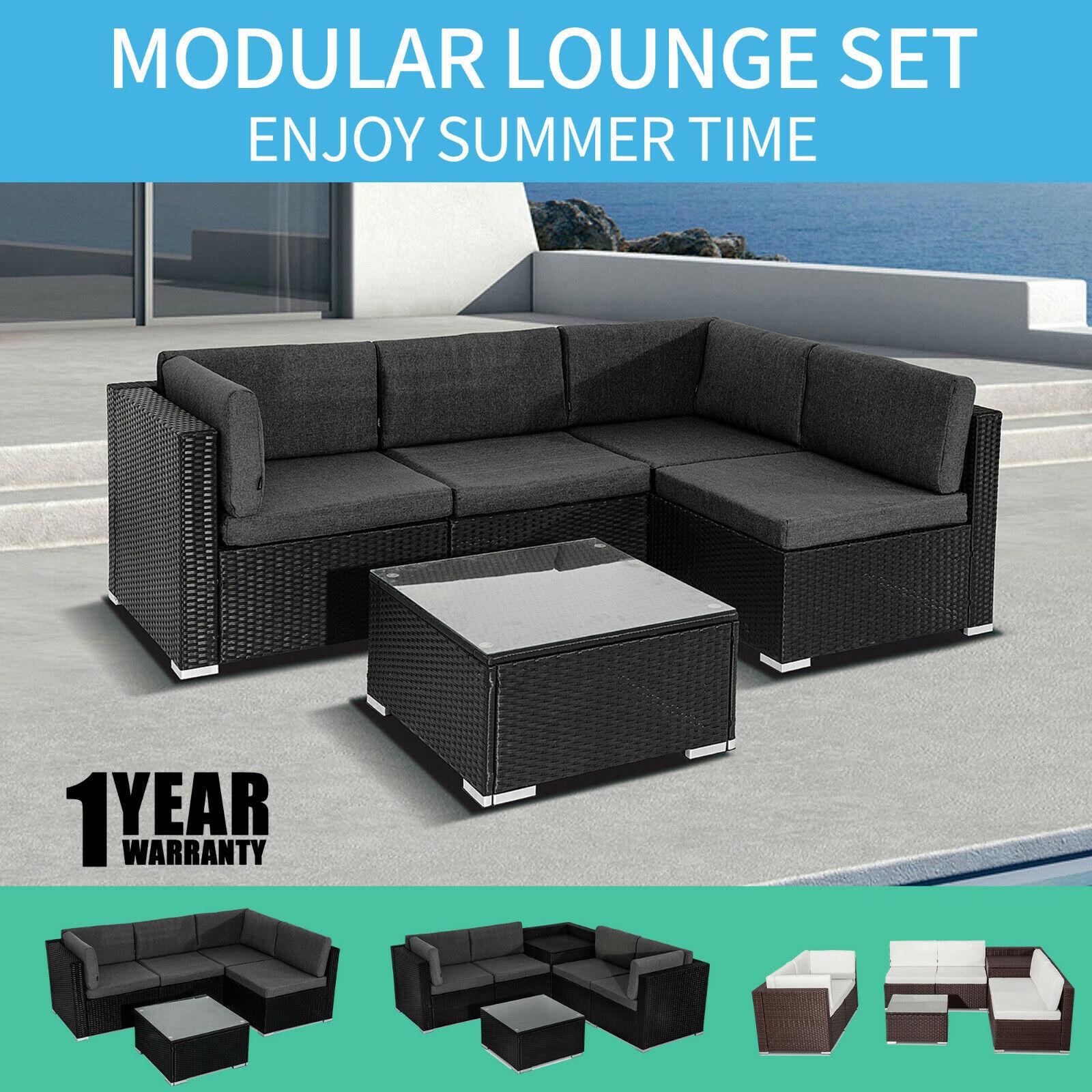 Garden Furniture - Outdoor Furniture Set PE Wicker Garden Modular Lounge Sofa Set
