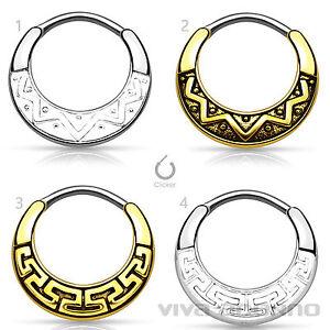 Naso-Piercing-anello-setto-chiusura-a-click-Helix-TARGHETTA-Maya-Tribale-Z484