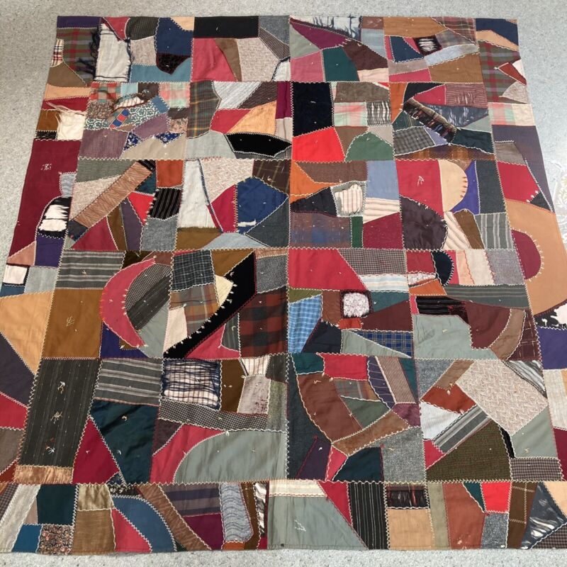 Embroidered Vintage Crazy Quilt Patchwork Hand Stitched Cottagecore 83/76