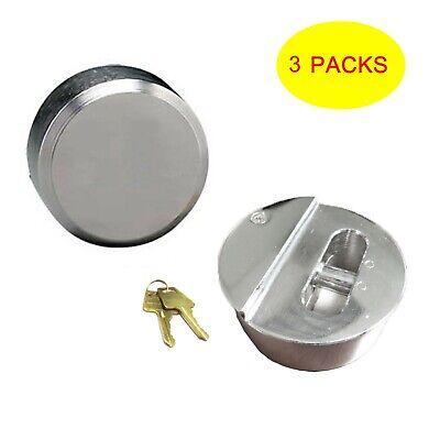 3pcs Hidden Shackle Hockey Puck Round Padlock Van Trailer Door Lock 2-78 73mm