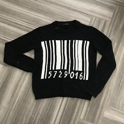Forever 21 Womens Sweater Size Small Black Oversized Barcode Long Sleeve