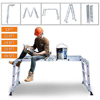 1112.514.515.519.5ft Aluminum Step Ladder Extension Folding Telescoping