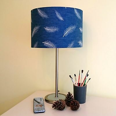 Navy Blue Lamp Shade, White Feathers Denim Drum Ceiling/Bedside Table Lamp Shade Denim Lamp Shade