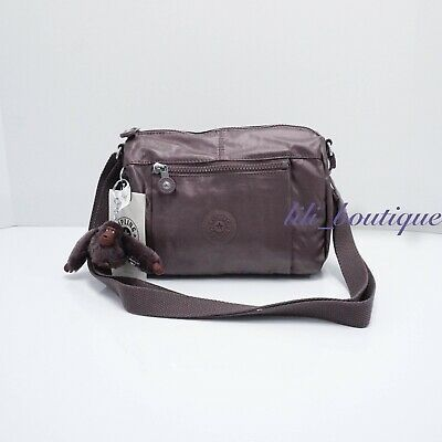 NWT Kipling HB6556 Wes Crossbody Shoulder Bag Purse Poly Popping Purple Metallic