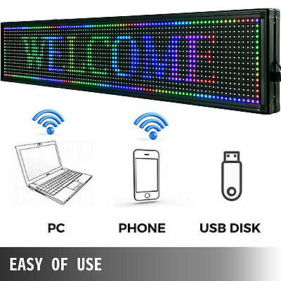 Us 40x8 7 Color Outdoor Led Sign Programmable Scrolling Message Board With Usb