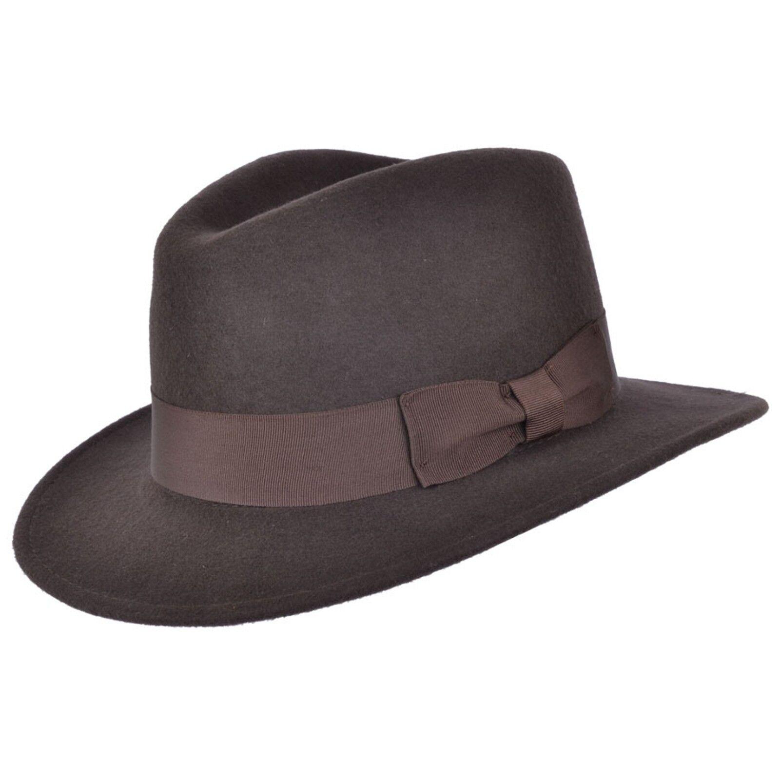Indiana de caballeros 100% lana marrón fieltro sombrero Fedora con banda  ancha 45119722e4c