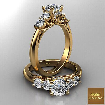5 Stone Round Diamond Dazzling Engagement Ring GIA F VVS2 18k Yellow Gold 1.21Ct