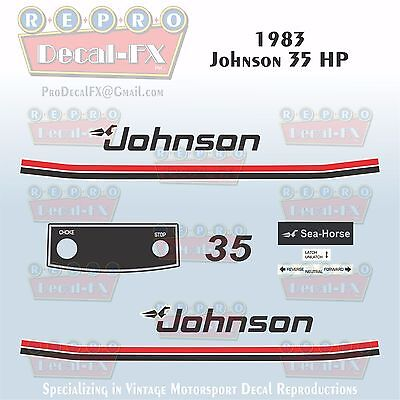 1978 Johnson 35HP Sea-Horse Outboard Reproduction 18 Pc Marine Vinyl Decals