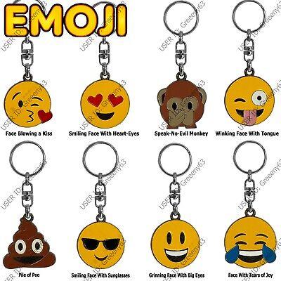 Emoji High Quality Metal Enamel Key Rings Kiss Winking Smilling Joy Heart Poo